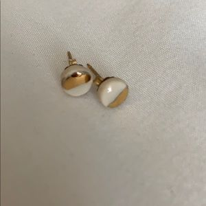 Geometric white and gold studs